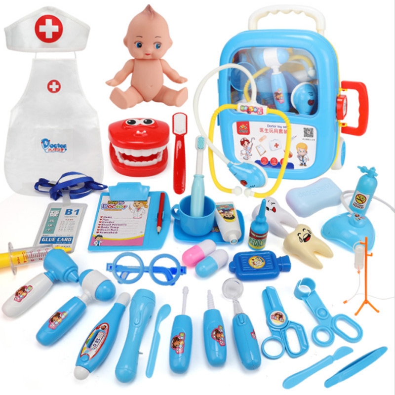 New 15 Types 1 Set Kit Pretend Play Doctor Toys Kids Role Play Classic Toy Simulation Hospital Plastic Portable Suitcase D28