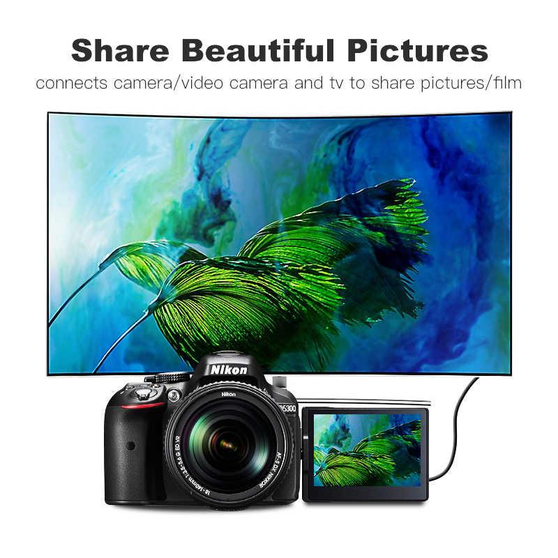 Lungfish Micro HDMI a HDMI Cable 2,0 3D 4k 1080P de alta velocidad HDMI adaptador de Cable 1m 1,5 m 2m 3m para HDTV PS3 XBOX PC Cámara