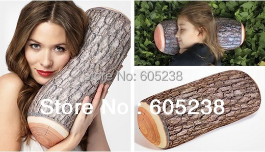 Free Shipping 4Pieces Green Log Pillow Wood Grain and Wood Throw Pillows