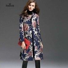 2017 NEW Women Spring Coat Elegant Jacquard Topper Vintage Bohemia Clothing Runway Womens Loose Casual Windbreakers Maxi Coats