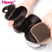 """ALIPOP Brazilian Body Wave Lace Closure With Baby Hair Non Remy Hair Natural Color 8″-24″ 100% Human Hair Closure 4""""x 4"""" Size"""