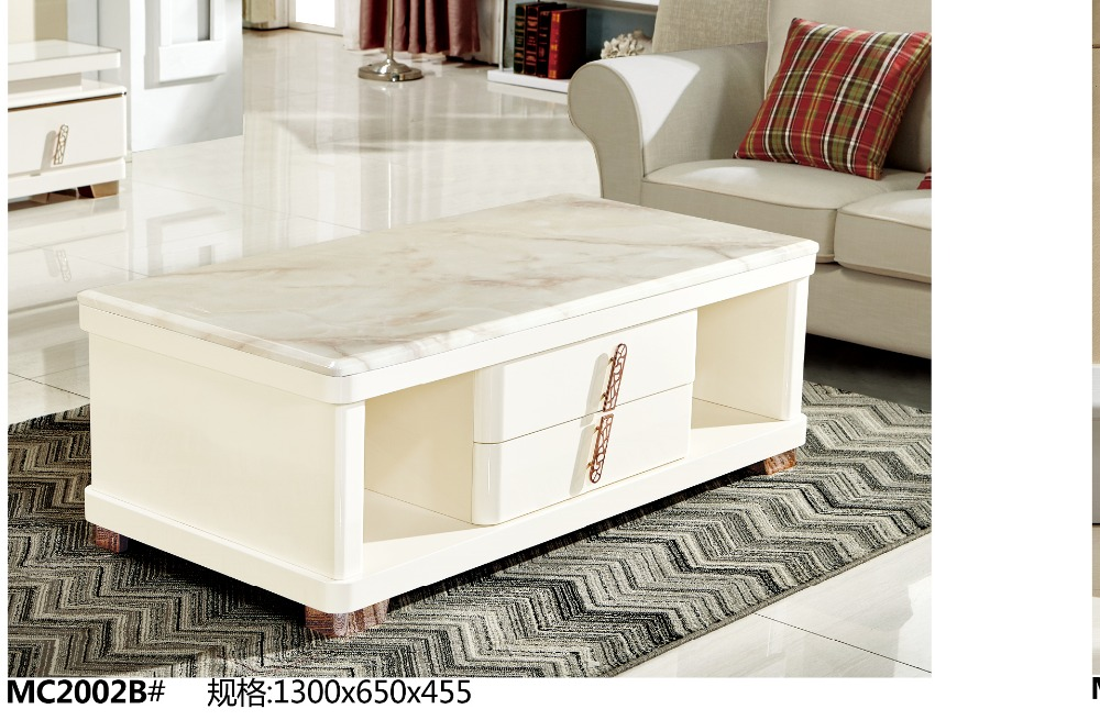 MC2002B Modern living room furniture marble top tea table with drawers store coffee table simple clear style coffee table-in Coffee Tables from Furniture on ... & MC2002B Modern living room furniture marble top tea table with ...