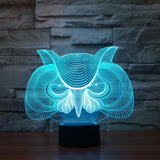 Criativo Coruja 7 Cores Mudam e 3d Mesa de Toque Lâmpada De Mesa Luz visual IY803331 Atmosfera de luz Decoração da lâmpada presente de natal