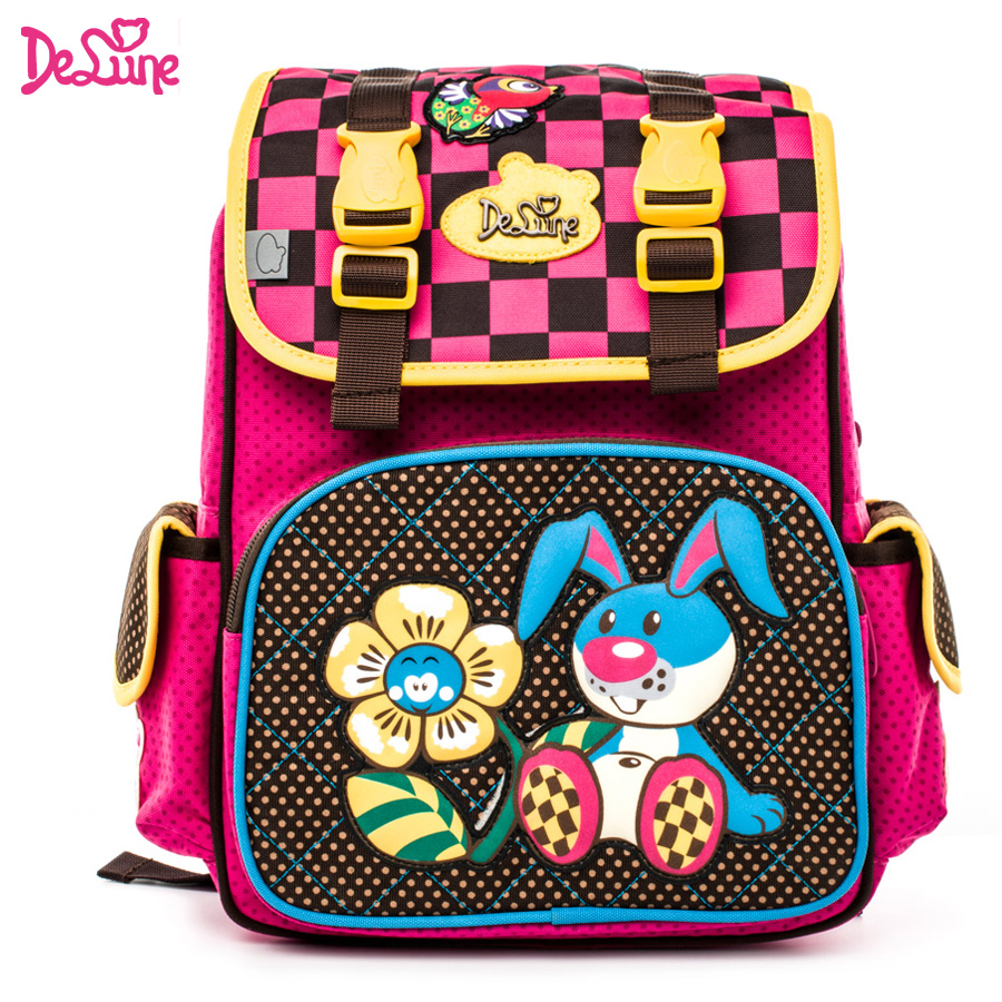 DELUNE Russia Waterproof Orthopedic Backpack School Bags for girls Cartoon cute rabbit bear Schoolbag set Kids Satchel Grade 1-6 delune