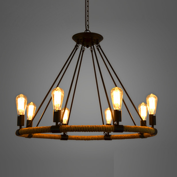 American Village Retro Pendant Lamp Creative Pastoral Rustic Country Style Rope Pendant Lights Cafe Restaurant Bar Bookstore