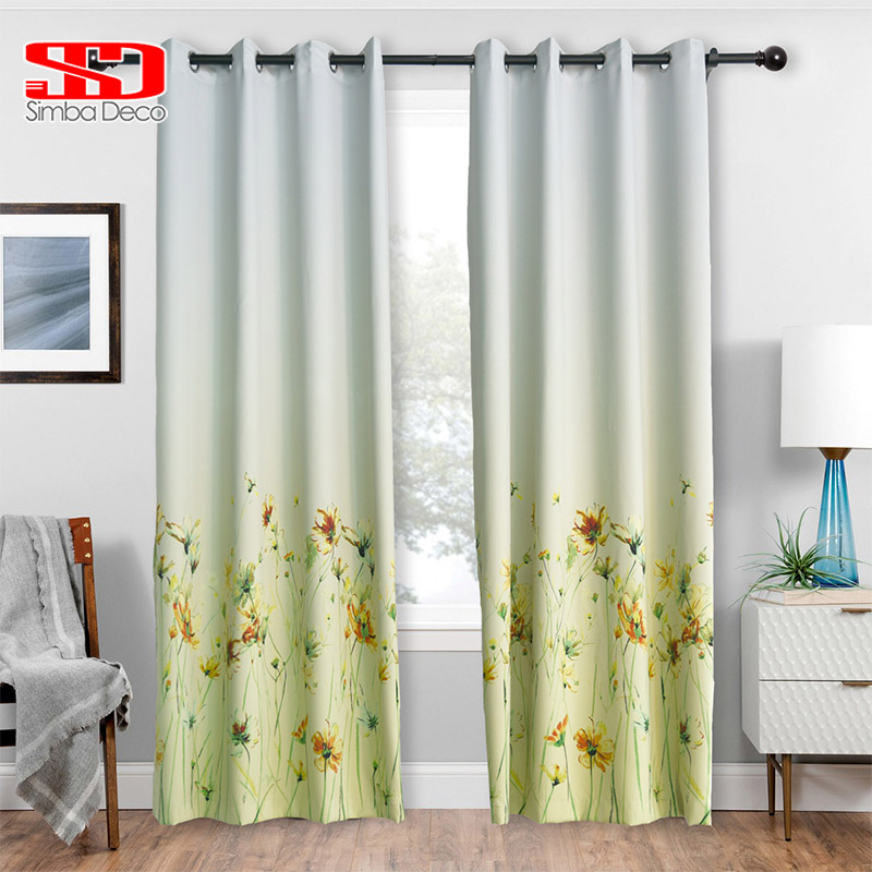 Modern Blackout Gradient Yellow Curtains For Living Room
