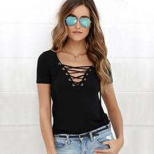 Hot Summer Women T-shirt Short Sleeve Deep V Neck Sexy Bandage Shirts Women Lace Up Tops Tees T Shirt Plus Size S-XL