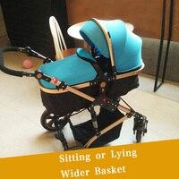 Teknum2 в 1 Детские коляски Высокая Пейзаж Детские коляски двусторонней кабаре подвесное колесо складной бб автомобиль Новорожденные каретки