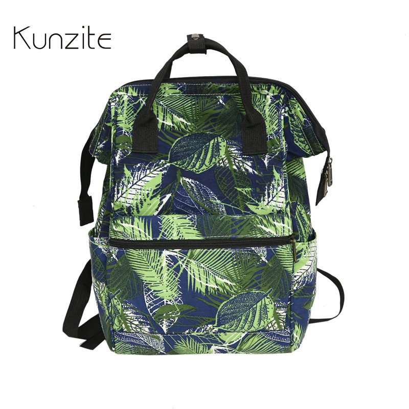 KUNZITE Backpack For Women Casual Printing Travel Accessories Bag Large  Capacity Back To School Backpack Girl s Student Book Bag 01415d408f99c