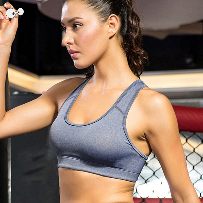 Women Yoga Fitness Workout Stretch Tank Top Quick Dry Wire Free Racerback Padded Sports Bra Anti-Shock Running Vest Sportswear