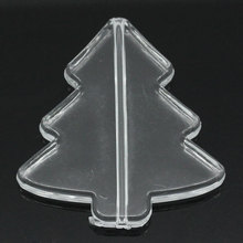 100Pcs Acrylic Christmas Trees Spacer Beads White Clear Jewelry Making Findings 41x39mm