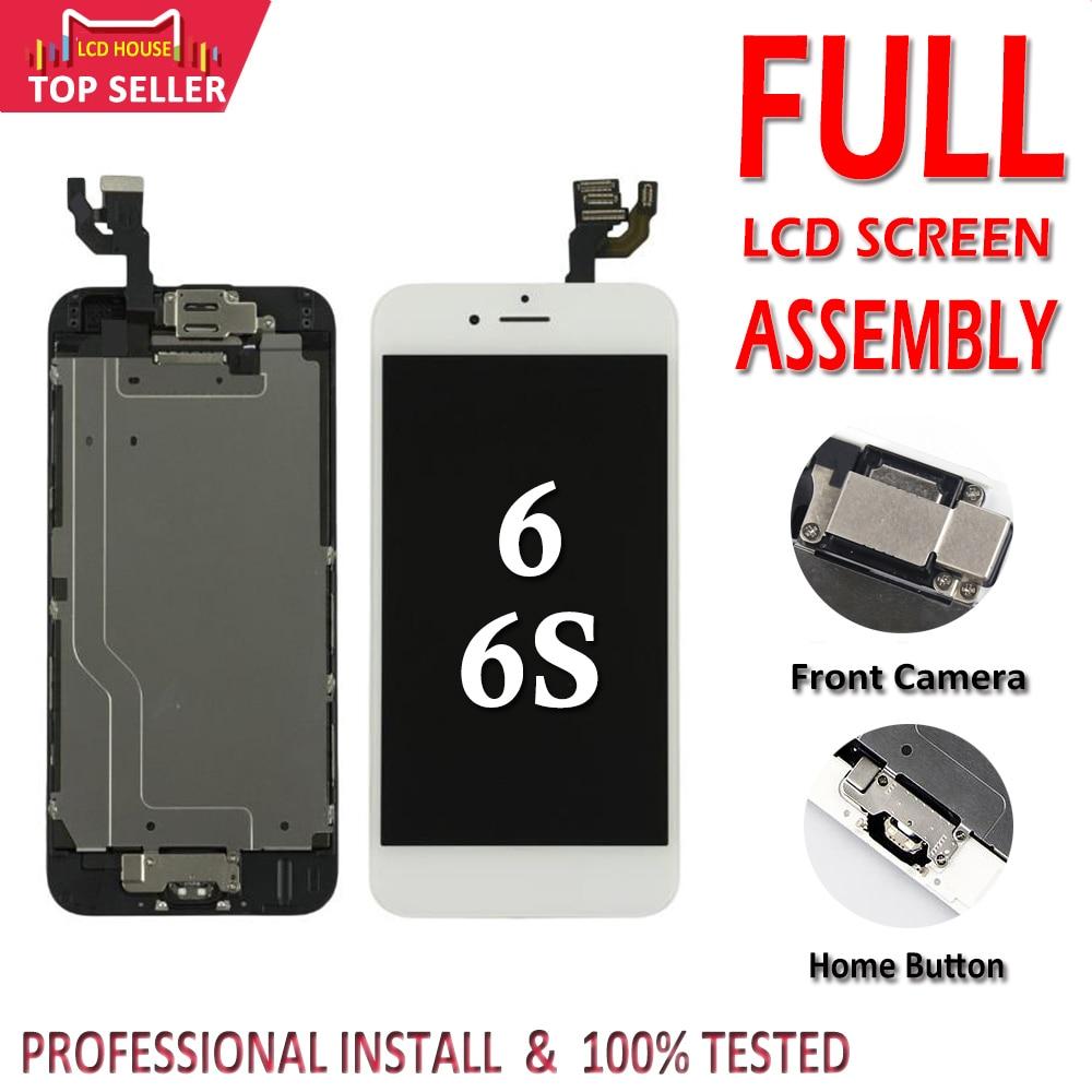 Completo Completo LCD Para iPhone 6 6S LCD Screen Display Toque Digitador Assembléia Substituição botão Home + Câmera Frontal nenhum Pixel Morto