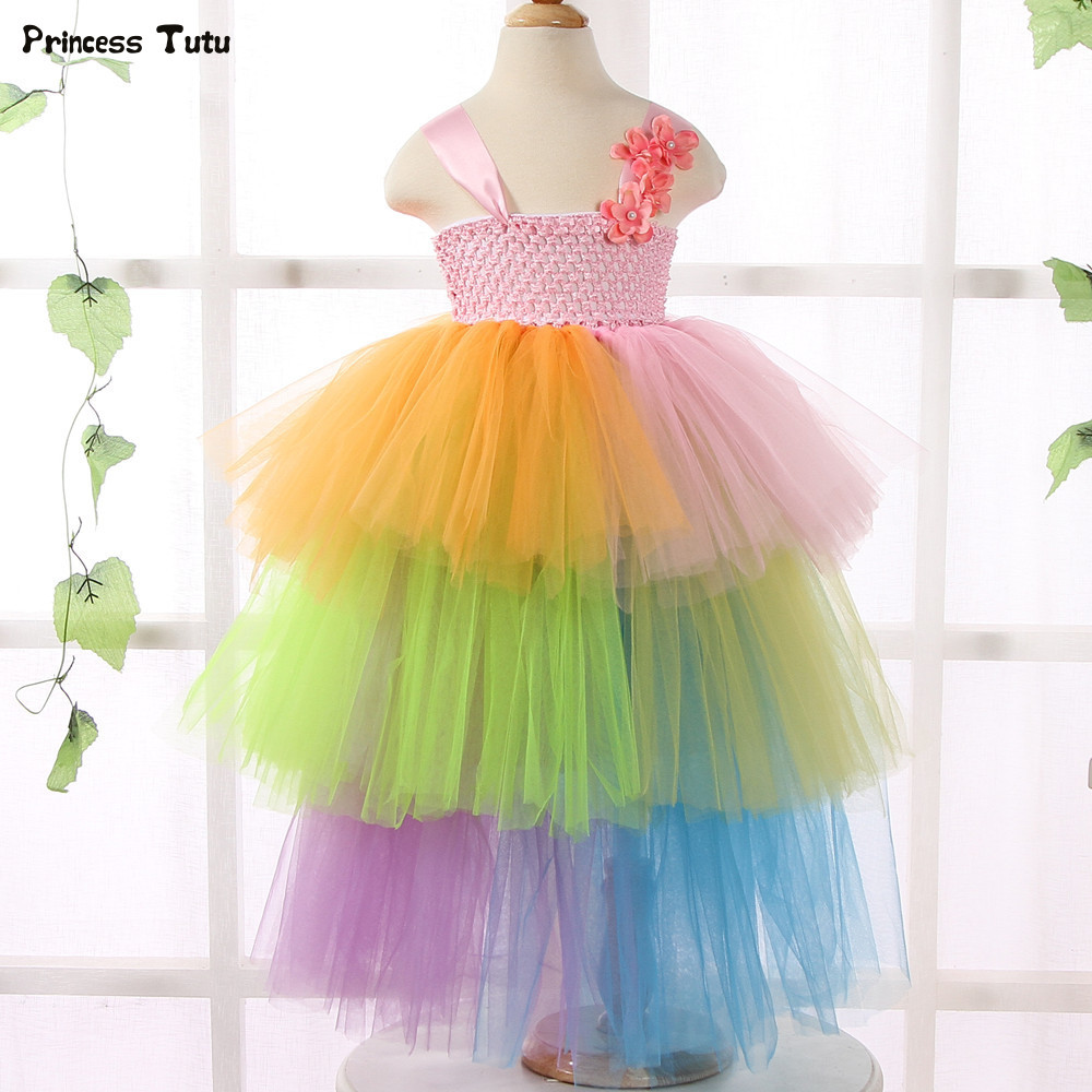 Candy Rainbow Girls Tutu Dress Cupcake 3 Layered Princess Dress Tulle Flower Girl Dresses for Girls Kids Wedding Party Ball Gown