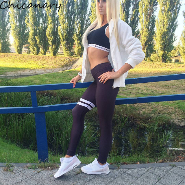 2016 Winter Leggings Women Skinny Panties Black Stripe Fitness Leggings High Elasticity Push Up Patchwork Legins