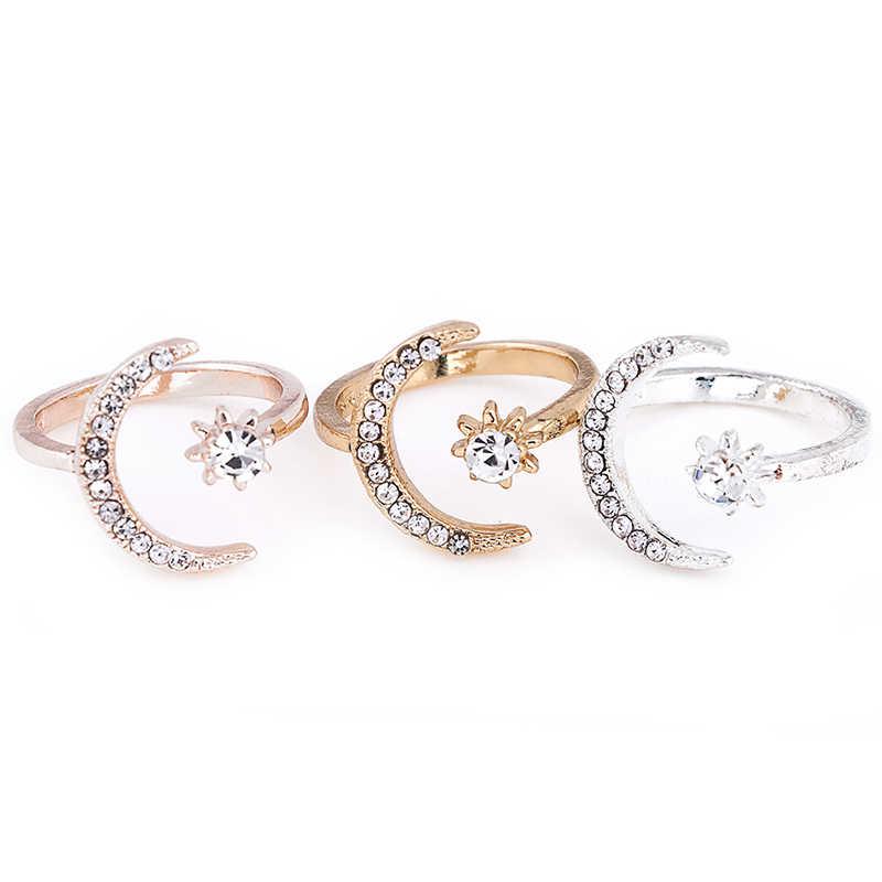 Модные кольца с Луной и звездой, женские свадебные украшения, открытое регулируемое кольцо, подарок