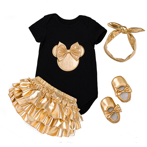 2020 Baby Girl Clothes 4pcs Clothing Sets Black Cotton Rompers Golden Ruffle Bloomers Shorts Shoes Headband  Newborn Clothes