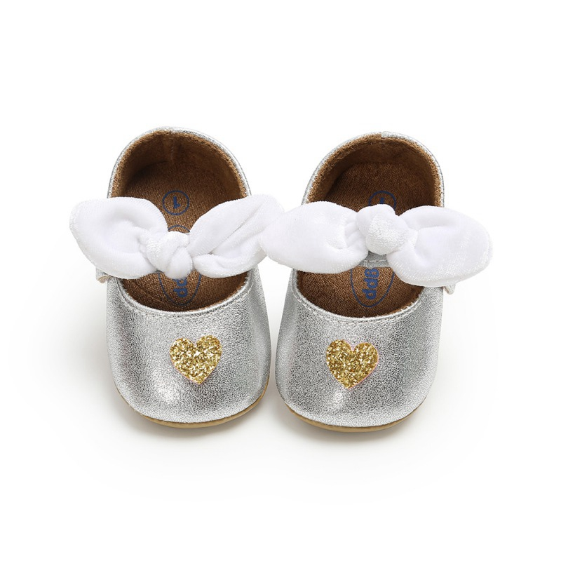 Toddler Newborn First Walkers Baby Shoes For Girl Kids Heart-shaped Pattern Anti-Slip Shoes With Bowknot Casual Sneakers