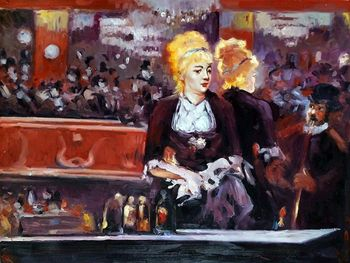 Study for A Bar at the Folies Bergere by Edouard Manet Painting on Canvas Wall Decor Art Woman Painting Handpainted