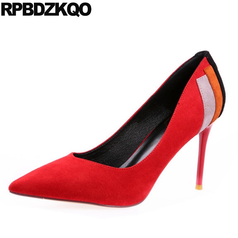 Фотография Modern Female Shoes Elegant Fashion Formal Red New Chic Size 4 34 Ladies China Sexy Office Suede Pumps Thin High Heels Stiletto