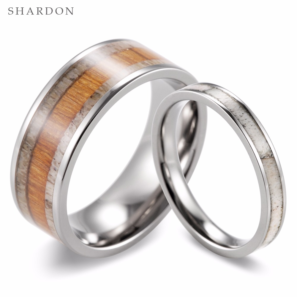 Shardon 2017 New Couples Wild Antler Wedding Band Set Koa Wood & Wild Antler  Titanium Rings(2pcs) Fashion Lovers Rings Jewelry