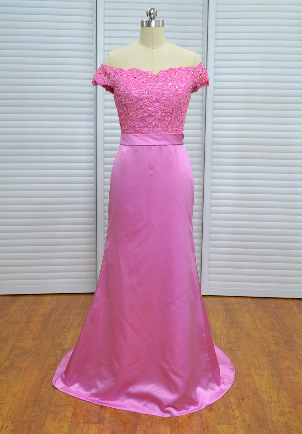 Robe Demoiselle Dhonneur 2018 New Lace Satin Sheath Fuchsia   Bridesmaid     Dresses   Long Real Photo Plus Size