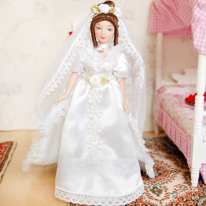 G07-X352 children baby gift Toy 1:12 Dollhouse mini Furniture Miniature rement Doll 15cm Bride with weeding dress 1pcs image