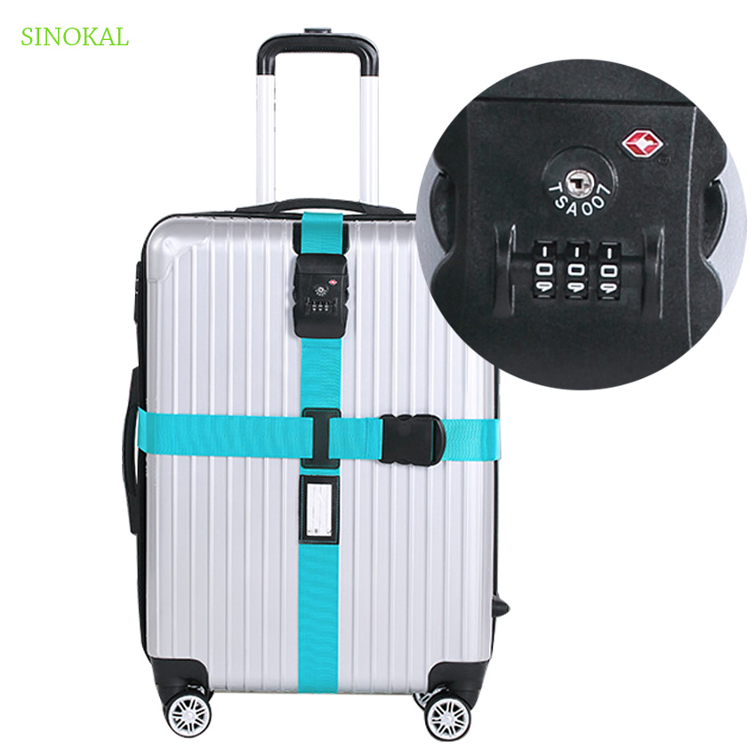 Luggage Belt Strap TSA Security Lock Suitcase Belt Cross Digits Password Adjustale Packing Belt For Travel Suitcase Buckle Strap vintage suitcase 20 26 pu leather travel suitcase scratch resistant rolling luggage bags suitcase with tsa lock