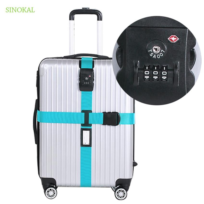 TSA saugos užraktas lagaminų diržas Kryžminis skaitmenų slaptažodis Reguliuojamas pakavimo diržas Bagažo diržo diržas kelioniniam lagaminui sagties diržui