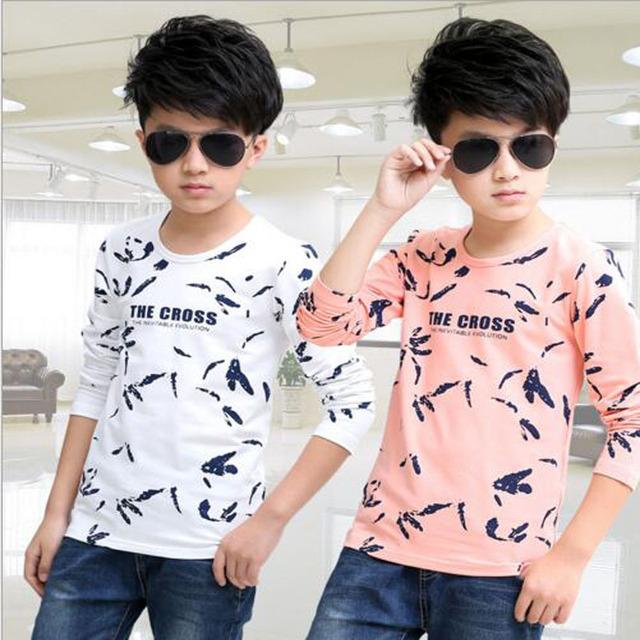 Meninos outwear Camiseta Tops Crianças Roupas meninos T-Shirt Adolescente Camisas dos miúdos meninos Outono Camiseta Enfant Fille primavera outwear