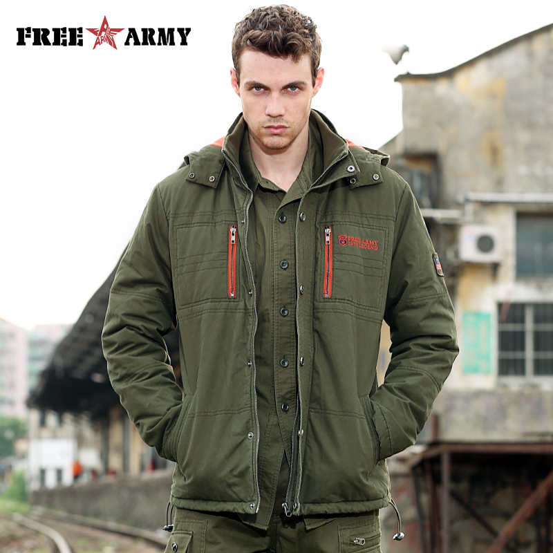 Winter Jacket Men Brand Overcoats Cotton Warm Padded Coats Jackets Military Outerwear With Free Socks Green Hooded Jacket Male brand new 2015 men fur hooded cotton padded coats fashion winter women thicken jackets couples overcoats outerwear h4395