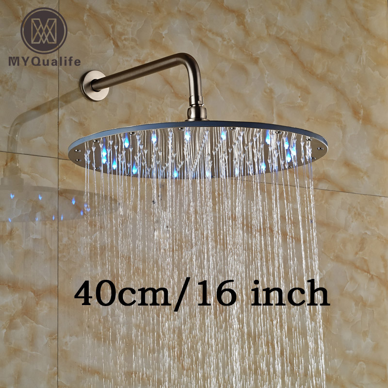 16 Stainless Steel Rainfall Shower Faucet Head Wall Mount LED Light Showerhead Brushed Nickel with Shower Arm nickel brushed square 12 rainfall shower head bathroom stainless steel showerhead with shower arm