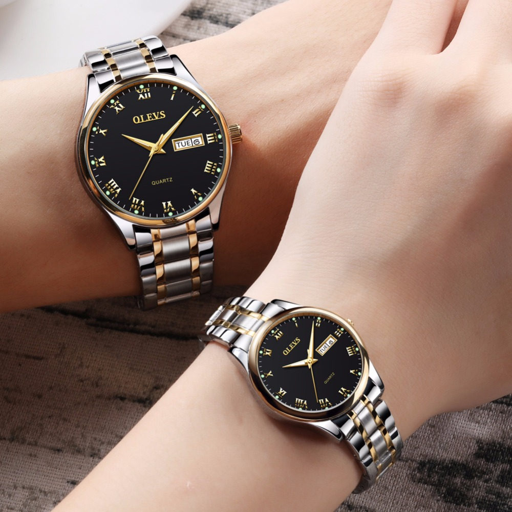 OLEVS Woman Watches Stainless Steel Couple Watches Ladies Mens Top Brand Luxury Clock Casual Wrist Watch Relogio bayan kol saati