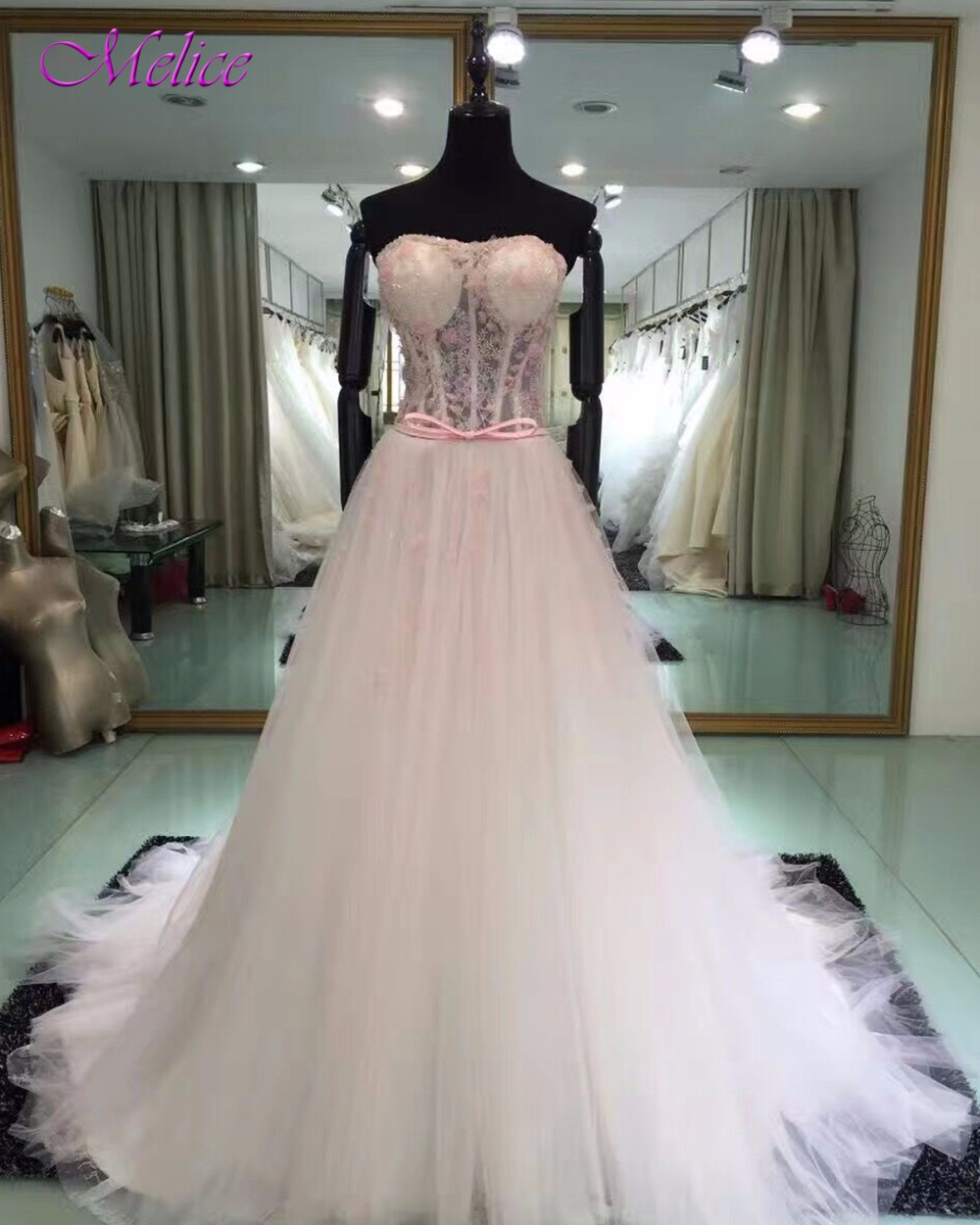 Fmogl Charming Straoless Lace Up A-Line   Prom     Dress   2019 Glamorous Tulle Court Train Formal Party Gown Robe De Soiree Plus Size