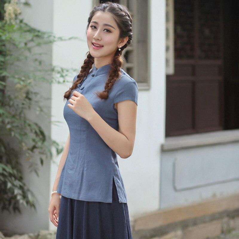 New Arrival Summer Chinese Style Cotton Linen Women Tang Suit Tops Blouse Traditional Elegant Slim Shirt M L XL XXL XXXL 2518-2