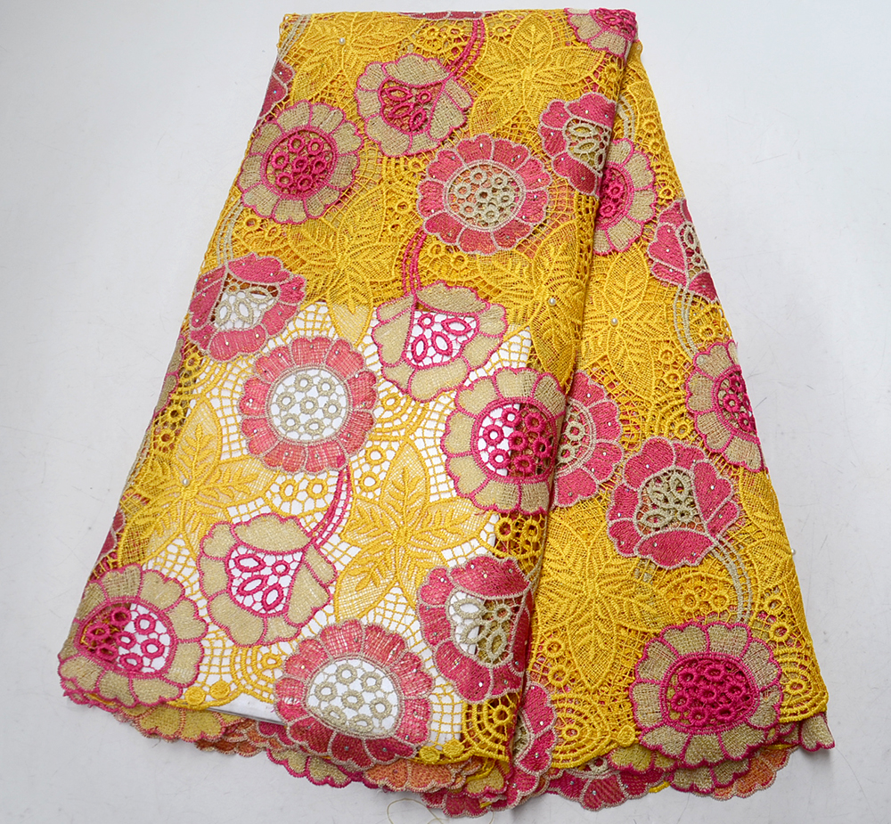 Latest Yellow African Laces Fabrics Water soluble lace Embroidered High Quality French Lace Fabric Nigerian Lace FabricLatest Yellow African Laces Fabrics Water soluble lace Embroidered High Quality French Lace Fabric Nigerian Lace Fabric