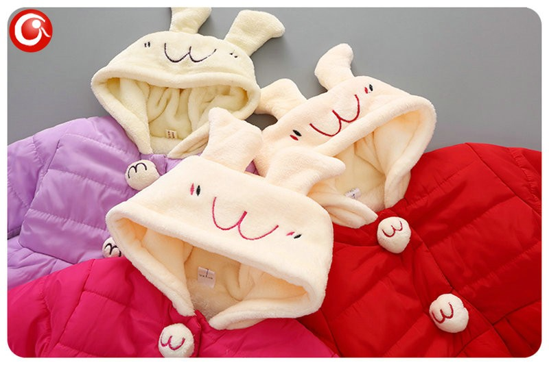 Winter Baby Girls Cartoon Rubbit Coat Thicken Kids Girl Snow Jacket Fleece Hooded Cotton Padded Outwear Christmas Clothes 2016 (2)