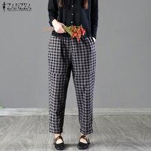 b8b80bd3fe905 2018 Plus La Taille ZANZEA Taille Haute Poches Coton Lin Longue pantalon  Femmes Casual Vérifier Plaid