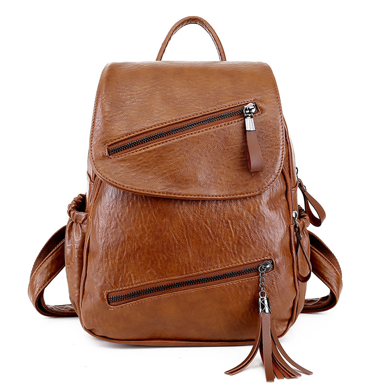 Casual Girl Backpack Pu Leather Women Bag Soft Fashion Wild Solid Female Back Pack High Quality Preppy Style Female Packbag