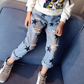 2017 Spring Baby Girl Casual Style Pants Star Print Holes Design Kid Denim Trousers Children Summer Elastic Waist Bottoms