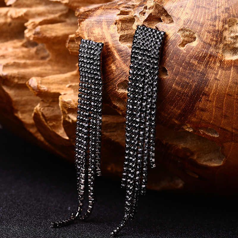 Black Full Rhinestone Drop Earring Quality Earrings For Women Luxury Jewelry Long Dangle Earring #E019