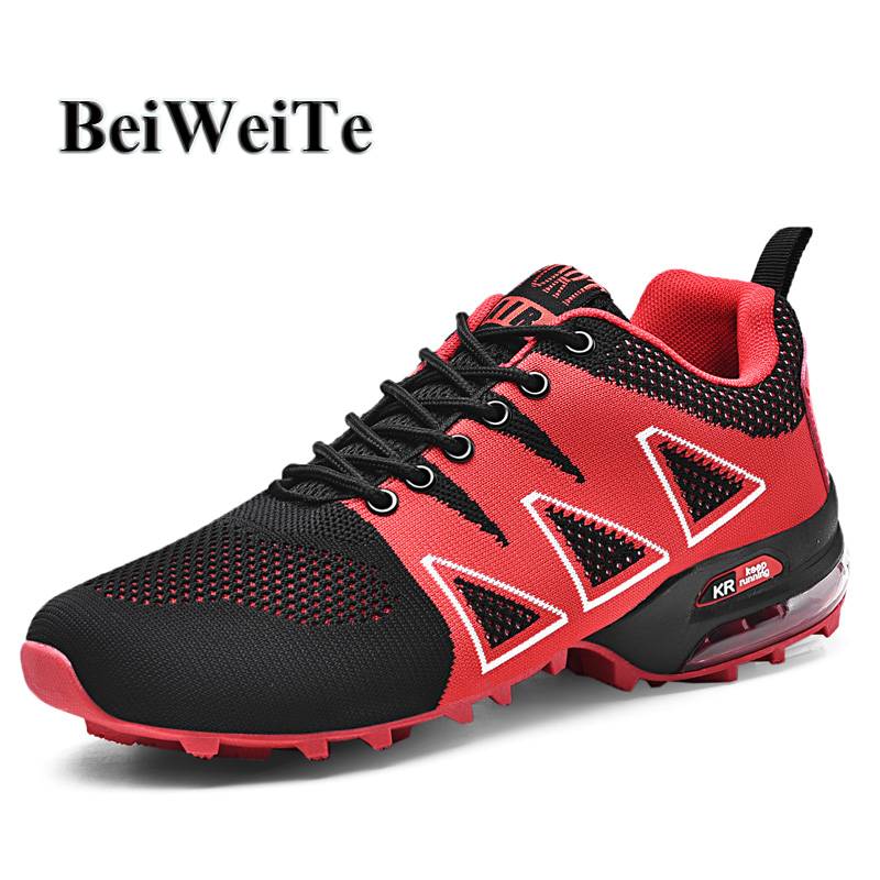 2019 Men Air Cushion Sneakers Trail Running Shoes Big Size Light Breathable Male Sneakers Outdoor Trekking Tourism Walking Shoes