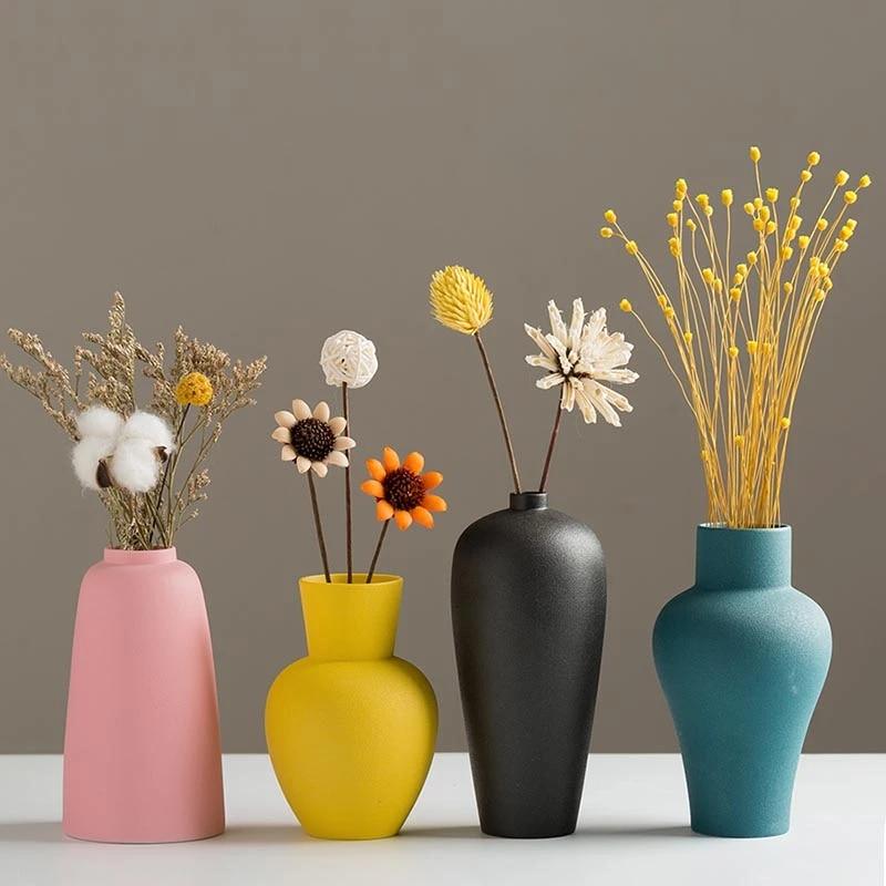 Nordic Modern Color Ceramic Small Flower Vase Creative Japanese Style  Hydroponic Desktop Mini Flower Vases Home Decorative Craft Vases  -  AliExpress