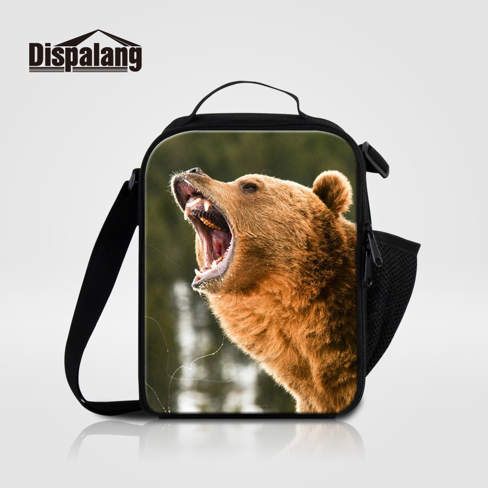 Dispalang Oxford Thermal Lunch Bags For School Adults Food Cooler Bag For Work Bear Animal Prints Insulated Picnic Lunch Box Bag