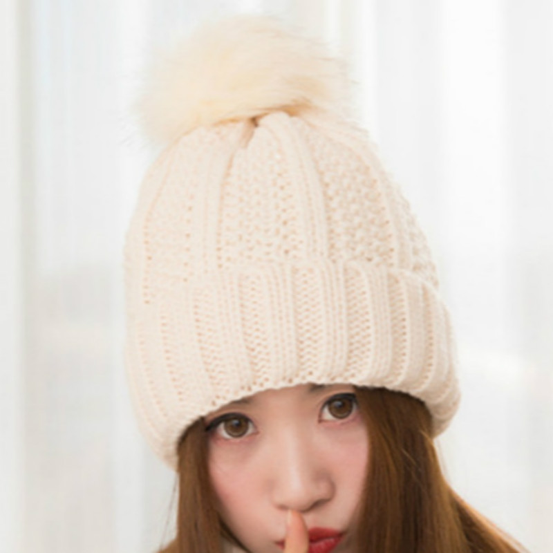 BONJEAN Top Quality New Fashion Lady Skullies Beanies Knit Winter Hat Cap With Real Fur Pom pom Ball Women Wool Knitted Fur Hats skullies