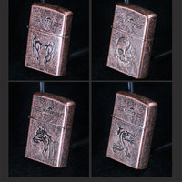 10pcs/lot Red copper Lighter encendedor 4kinds chooes Windproof lighter isqueiro as christmas gift cigarette tool
