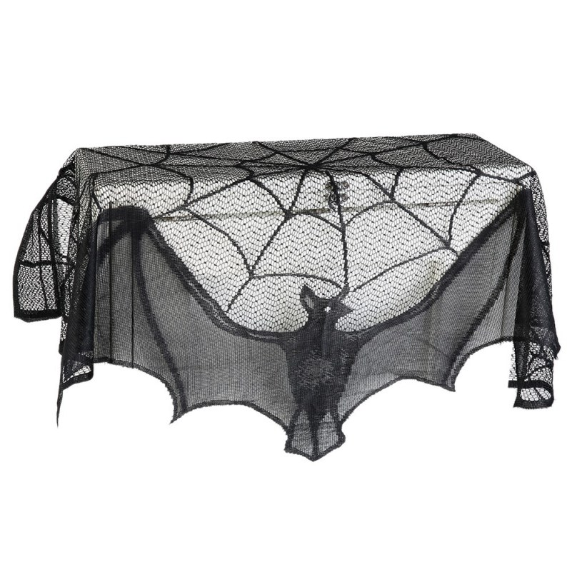 60*20inch 1 Pcs Halloween Decoration Lovely Lace Spiderweb Fireplace Mantle Scarf Cover  ...