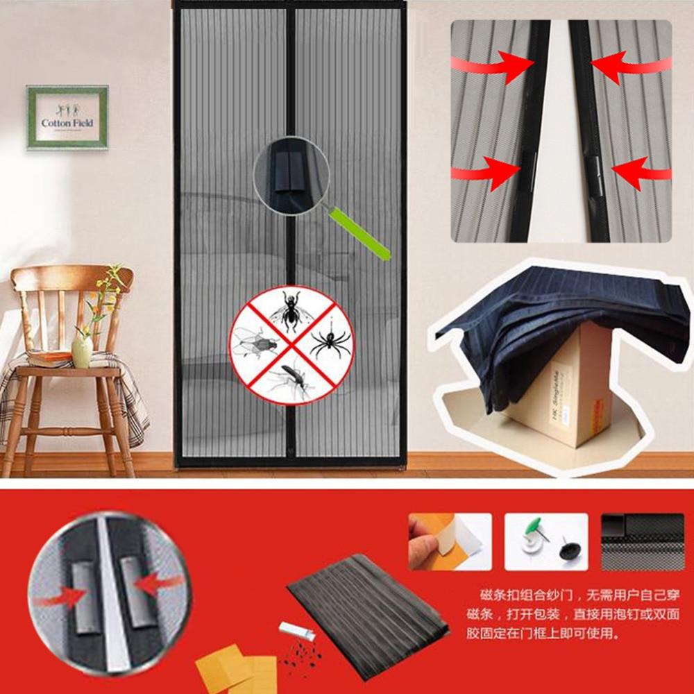 1PC Mosquito Net Curtain Magnets Durvju acs Insektu smilšu tīkli ar magnētiem uz durvju sieta magnēta 5 izmēri