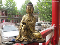 10Tibet Buddhism Bronze Gild Eight treasures Kwan yin Bodhisattva Statue Garden Decoration 100% real Brass Bronze