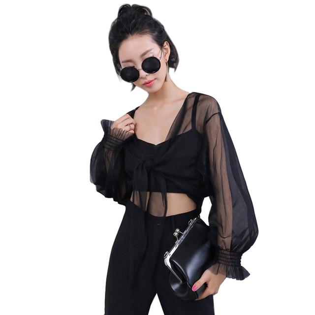 VeryYu Long Sleeve Transparent Shirt Fashion  VerYYu