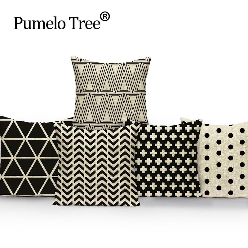 45*45 cm Decorative Throw Pillow Cover Black White Abstract Geometry Diamond Cushion Cover Pillow Case for Sofa capa de almofada